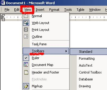 Toolbars in Word