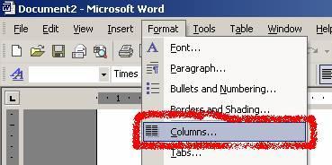 format menu columns