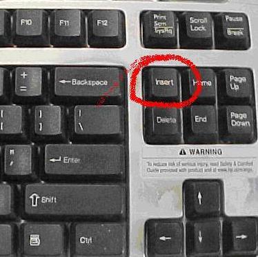 keyboard insert key